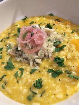 Crab & butternut squash risotto, @pizzadelicious