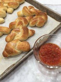 homemade garlic knots, made from a minimally kneaded New York style pizza dough